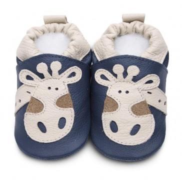 Shoo Shoo Leather Baby Shoes - Denim Giraffe