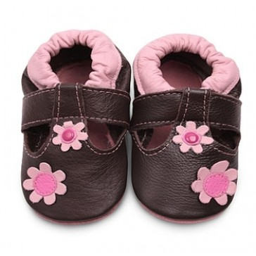 Shoo Shoo Leather Baby Shoes - Brown T Bar/Pink Flowers