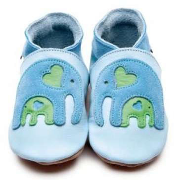 Inch Blue Soft Leather Baby Shoes - Ellie & Baby Baby Blue