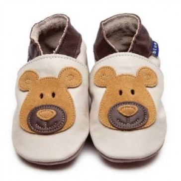 Inch Blue Soft Leather Baby Shoes - Bear Cream/Tan