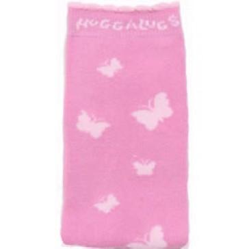 Organic Huggalugs baby leg warmers - Butterflies on Pink