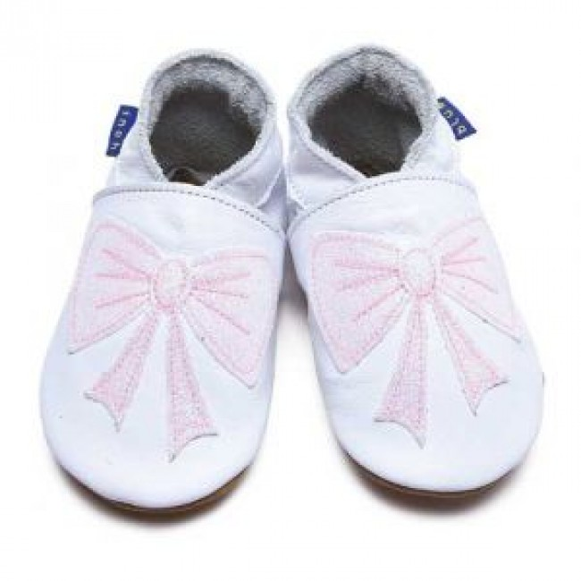 Home / Inch Blue Soft Leather Baby Shoes - Bow White/Glitter Baby Pink