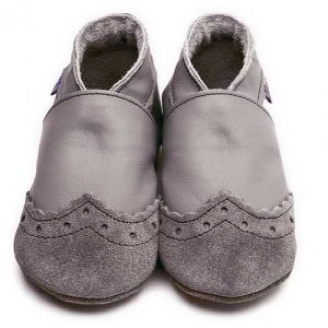 Blue Soft Leather Baby Shoes - Brogue Grey