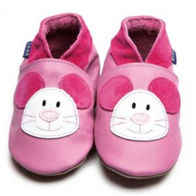 Blue Soft Leather Baby Shoes - Squeak Rose Pink