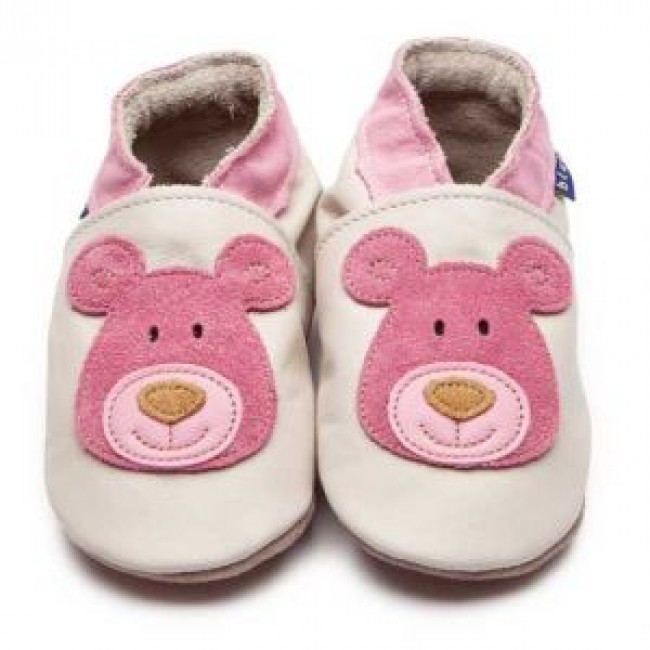 Blue Soft Leather Baby Shoes - Bear Cream/Pink