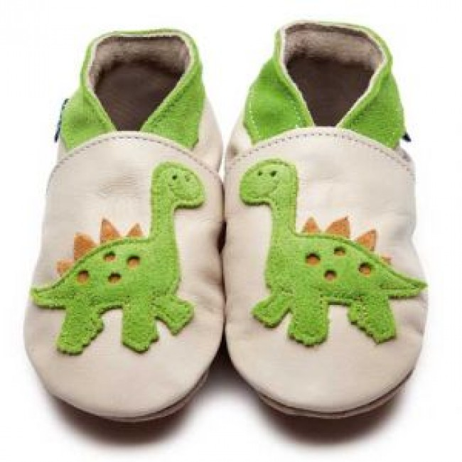 Blue Soft Leather Baby Shoes - Dino Cream/Citrus