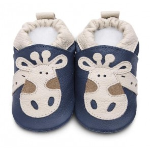 Shoo Shoo Leather Baby Shoes - Denim Giraffe