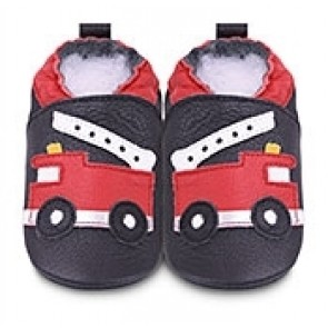Shoo Shoo Leather Baby Shoes - Baby Blue Fire Truck