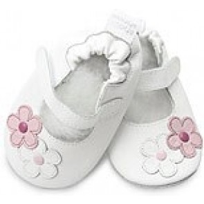 Shoo Shoo Leather Baby Shoes - White Ballet/2 Flowers