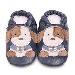 Shoo Shoo Leather Baby Shoes - Blue Patch Puppy