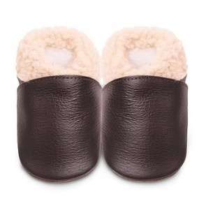 Shoo Shoo Leather Baby Shoes - Brown Slipper