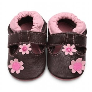Shoo Shoo Leather Baby Shoes - Cream/Brown Teddy