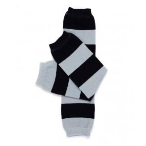 MyLittleLegs Black & Grey Stripe Leg Warmers