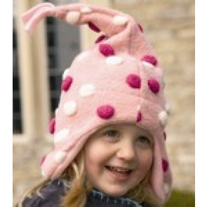 Buggysnuggle Pink and Cream Pom Pom Pointy hat