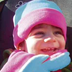 Pink and Aqua Cozyosko Beanie Hat and Scarf Set