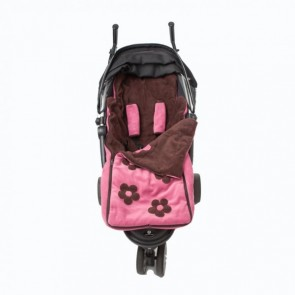 Cozyosko reversible buggy bag Dusky Pink / Chocolate Flowers