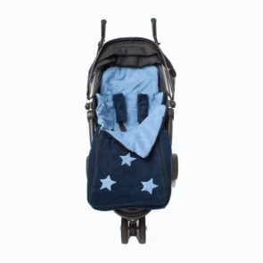 Cozyosko reversible buggy bag Jacaranda Blue / Navy Flowers