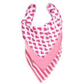 Pink Hearts DryBib Bandana Bib Triple Packs