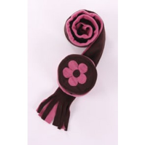 Dusky Pink and Chocolate Cozyosko Beanie Hat and Scarf Set