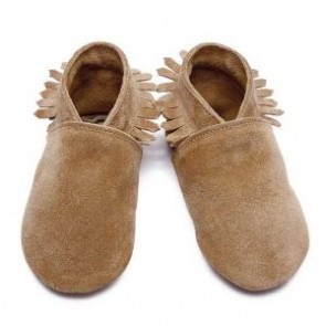 Inch Blue Soft Leather Baby Shoes - Moccasin Tan