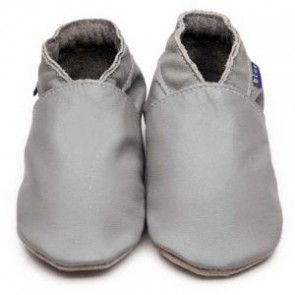 Inch Blue Soft Leather Baby Shoes - Plain Grey