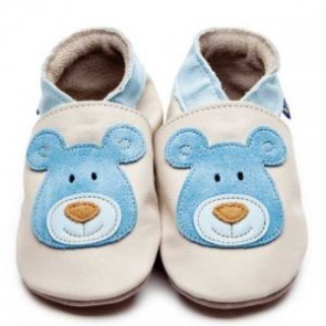 Inch Blue Soft Leather Baby Shoes - Bear Cream/Blue