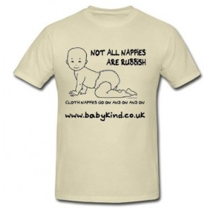 """Not all nappies are rubbish..."" Real Nappy Promotional T-shirts"