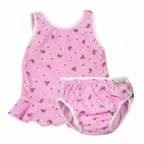 2 Parts Swimsuit, Pink & White Flower Medium