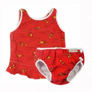 2 Parts Swimsuit Red Fish