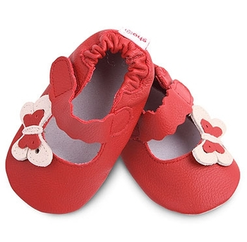Shoo Shoos leather Baby Shoes - Red Butterflies